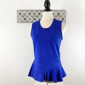 J. Crew Blue Peplum Top Stretch Ponte Knit, Size S